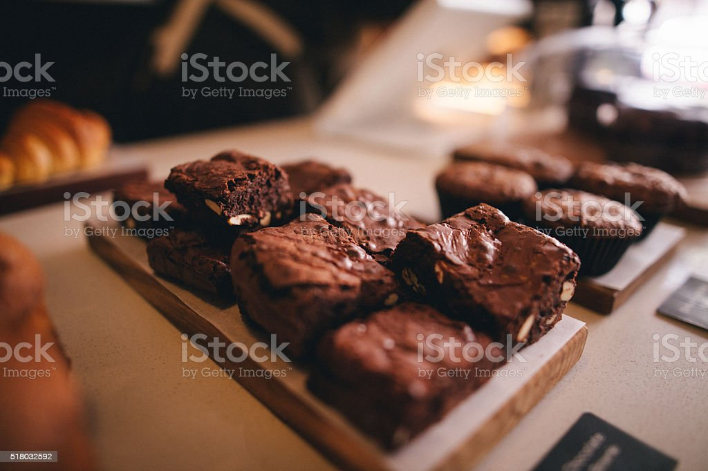 Brownie Display in Trendy Coffee Shop stock photo