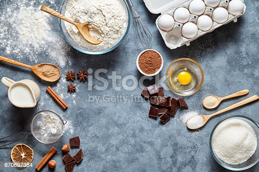 istock Brownie dough preparation cookie or pie recipe ingridients, sweet food flat lay top view 670697384