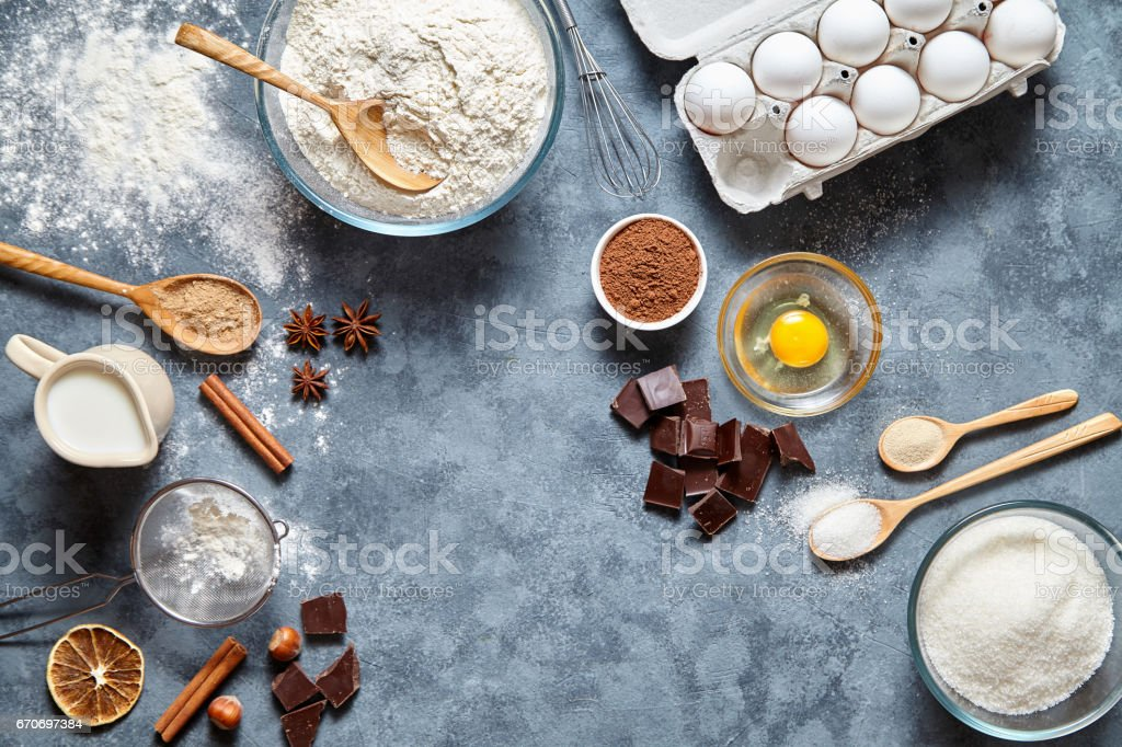 Brownie dough preparation cookie or pie recipe ingridients, sweet food flat lay top view stock photo