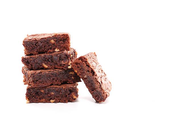 brownie isolato su bianco - foto stock