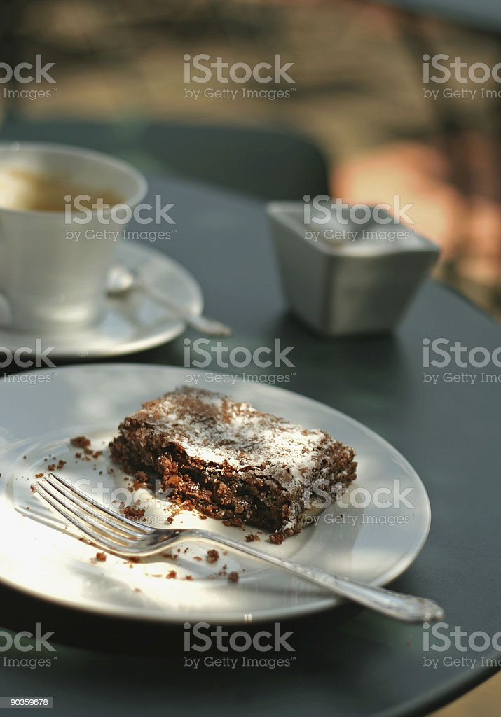 brownie on garden table royalty-free stock photo