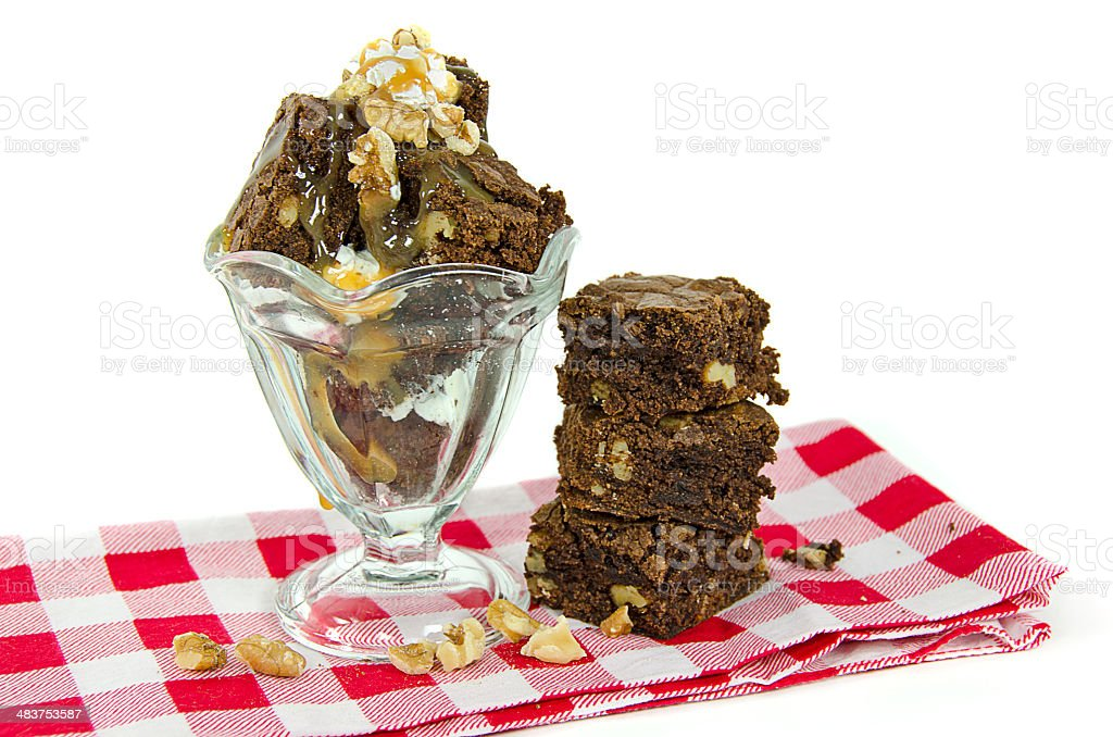 brownie sundae with walnuts stock photo