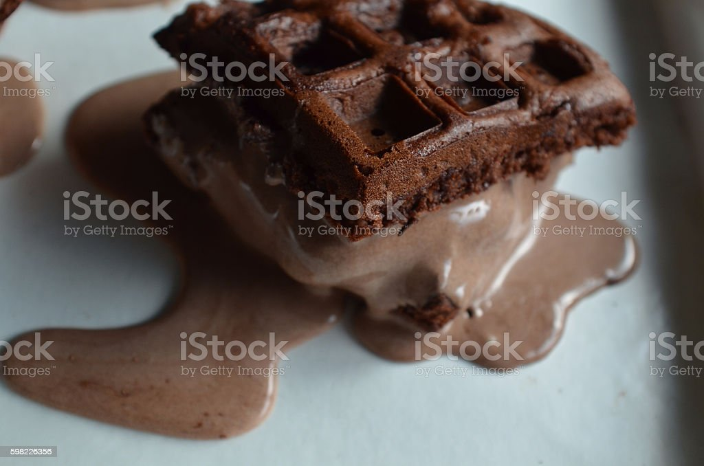 Brownie waffle ice cream sandwich foto royalty-free