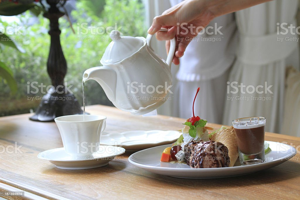 Brownie with Ice cream and fruit slad stock photo