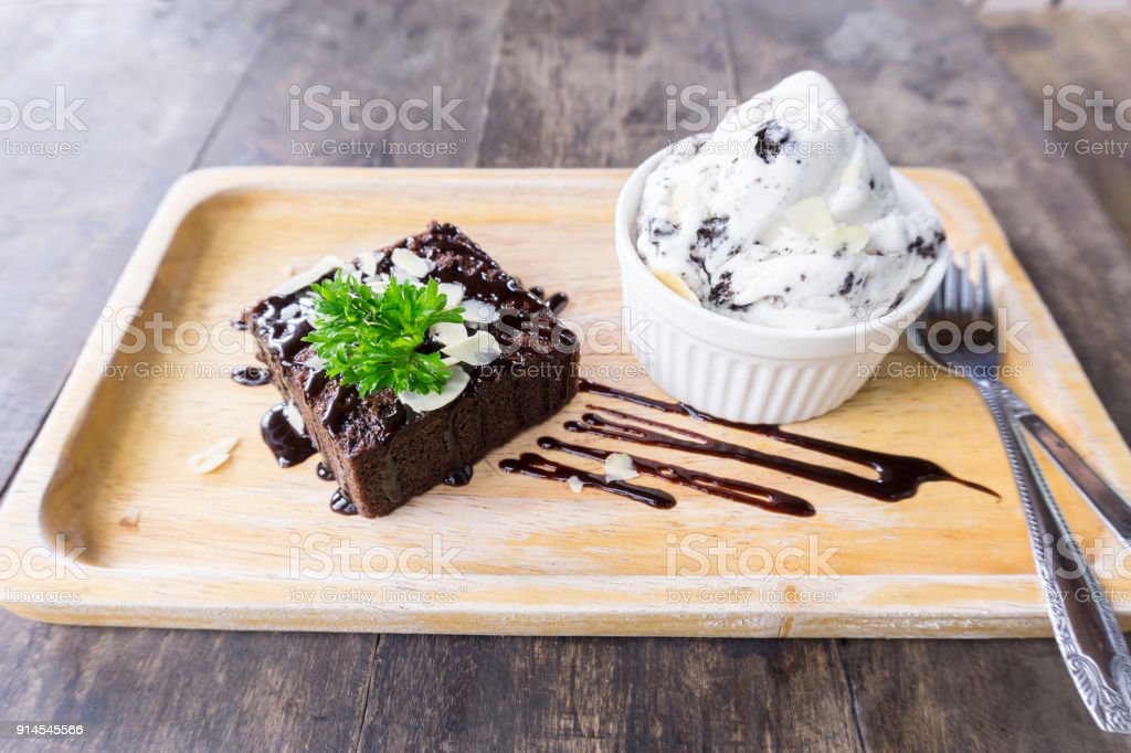 Brownie with ice cream on the dish stock photo