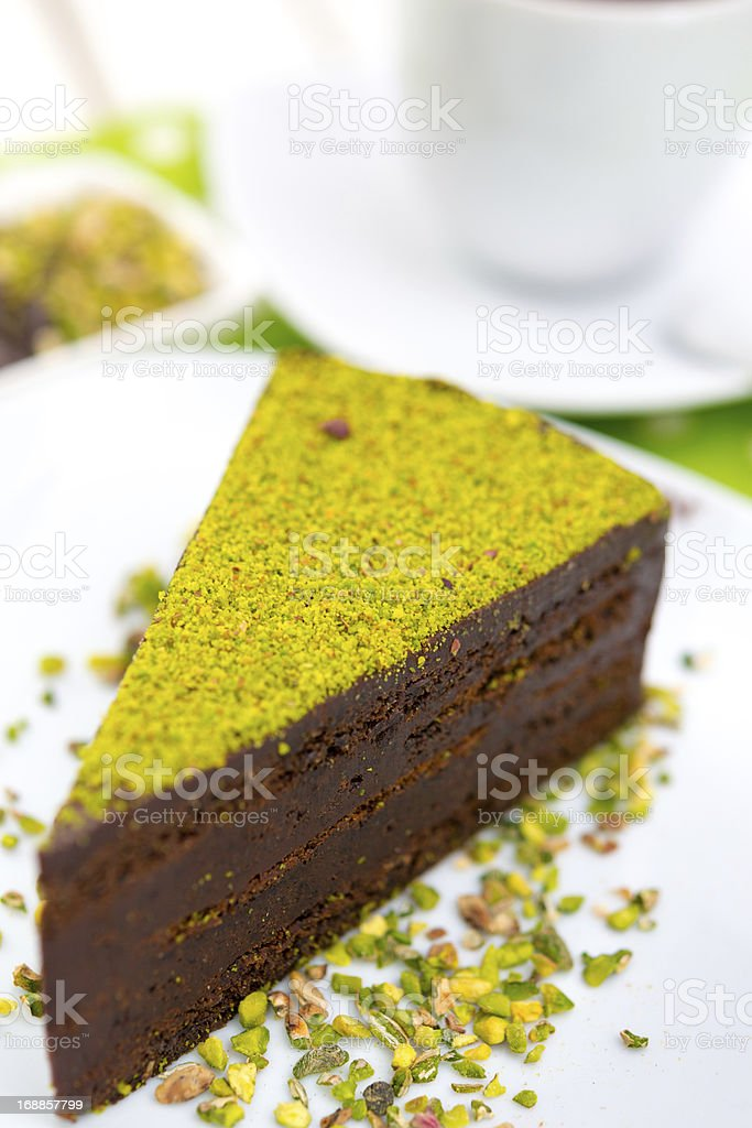 Brownie with pistachio royalty-free stock photo