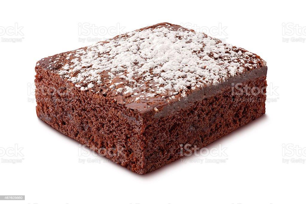 Brownie with Powdered Sugar stock photo