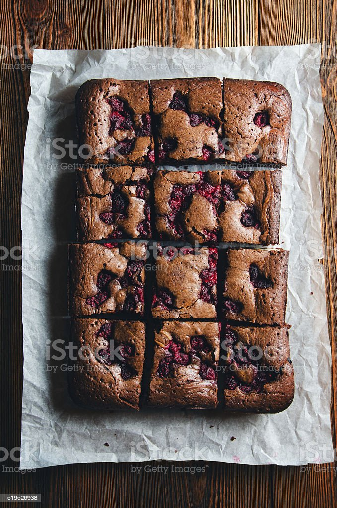 Brownie with raspberry, top view stock photo