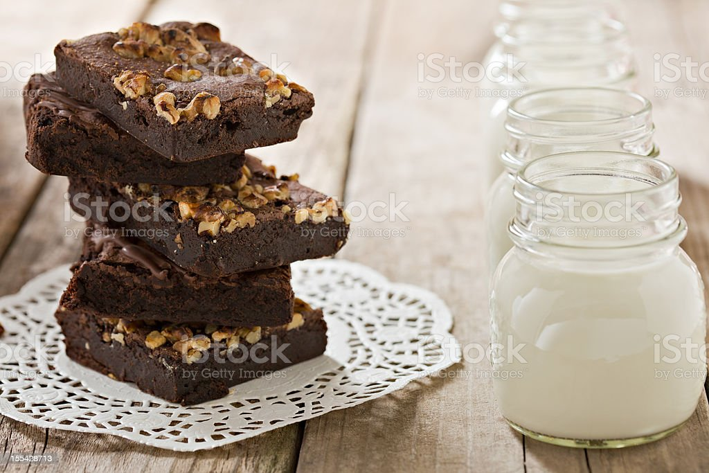 Brownies And Milk royalty-free stock photo
