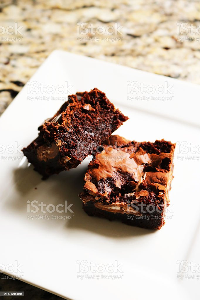 Brownies on a White Plate stock photo