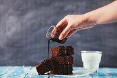 Brownies with Chocolate Sauce