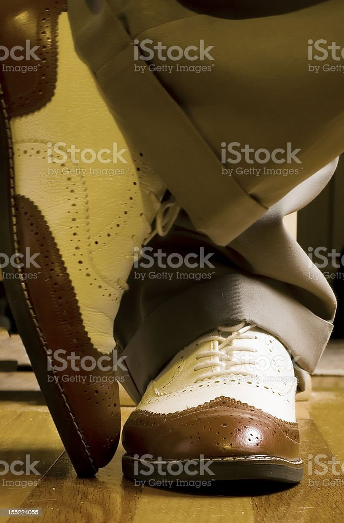 Brown-N-White Dance Shoes stock photo