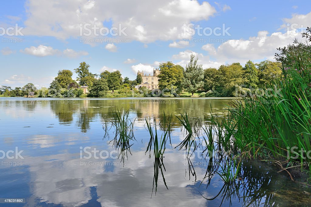 Brown's lake in Digby's garden Sherborne Castle is a 16th-century Tudor mansion southeast of Sherborne in Dorset, England. The 1,200-acre (490 ha) park formed only a small part of the 15,000-acre (61 km2) Digby estate 2015 Stock Photo