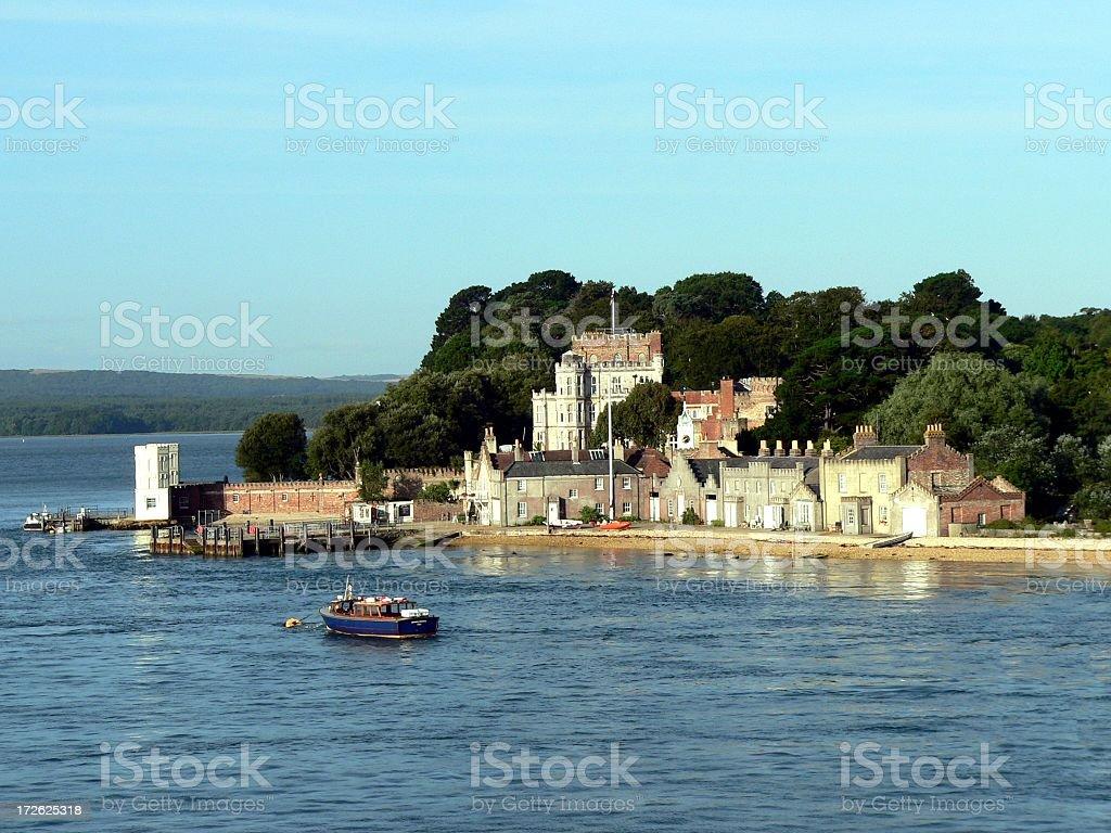 Brownsea Island - village and jetty stock photo