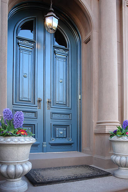 Brownstone Arched Entry Doors Stock Photo More Pictures Of