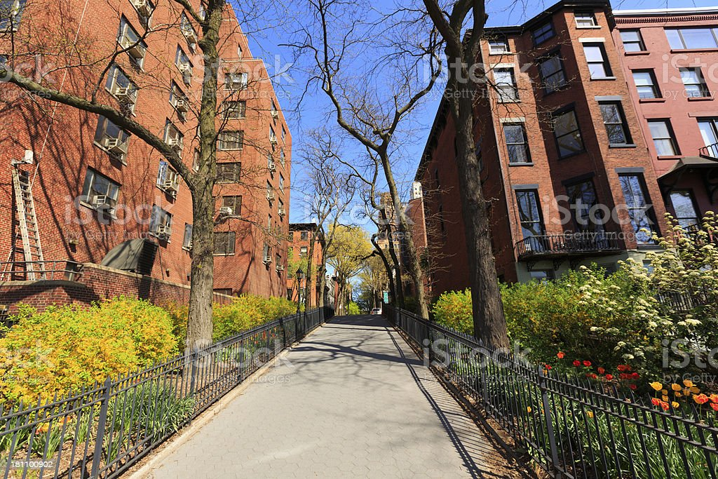 Brownstone buildings in Brooklyn Heights, NY stock photo