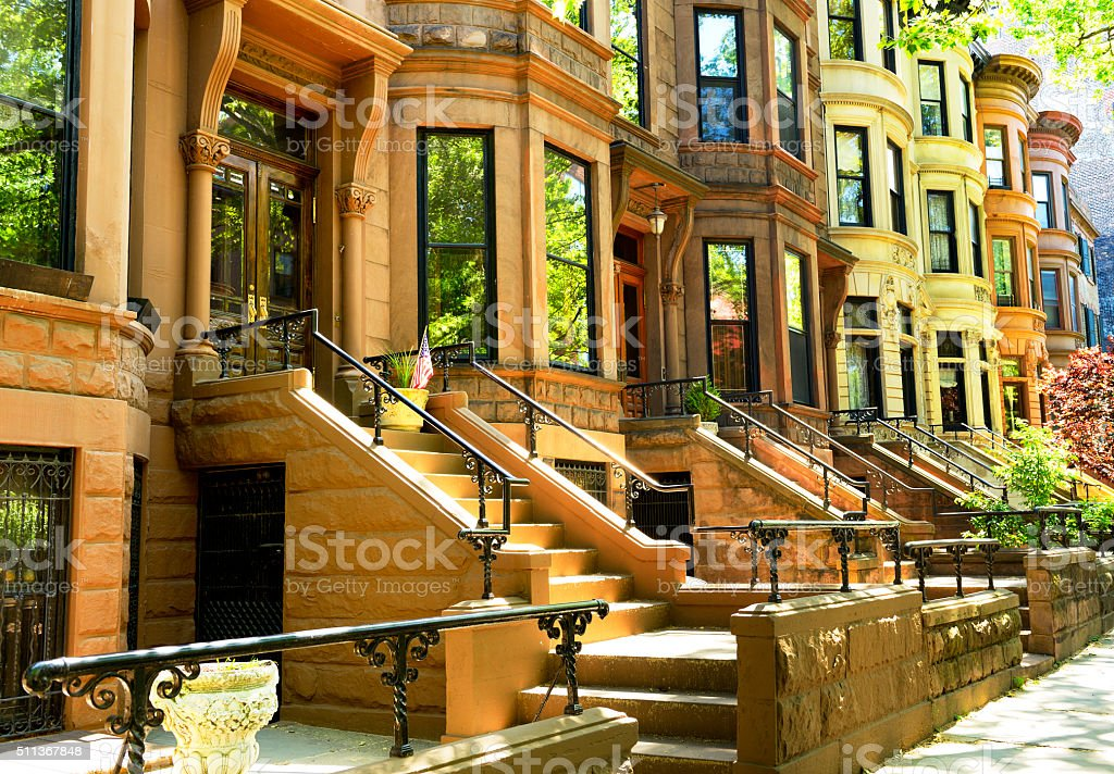 Brownstone in a row, NYC stock photo