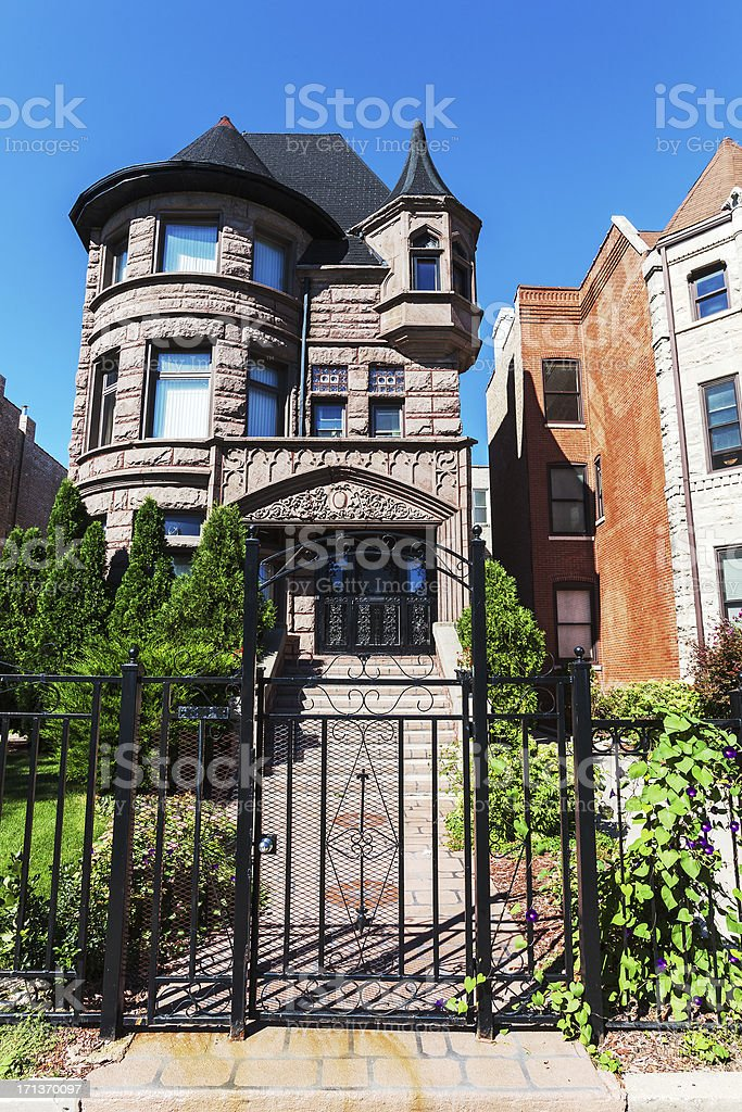 Brownstone mansion  in Kenwood, Chicago royalty-free stock photo