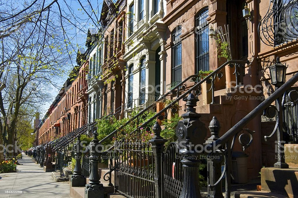 Brownstone row houses, Park Slope, Brooklyn, New York City stock photo