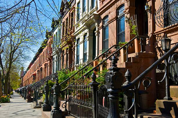 Brownstone row houses, Park Slope, Brooklyn, New York City stock photo