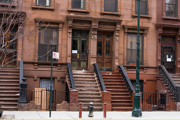 Brownstone rowhouse in Harlem stock photo