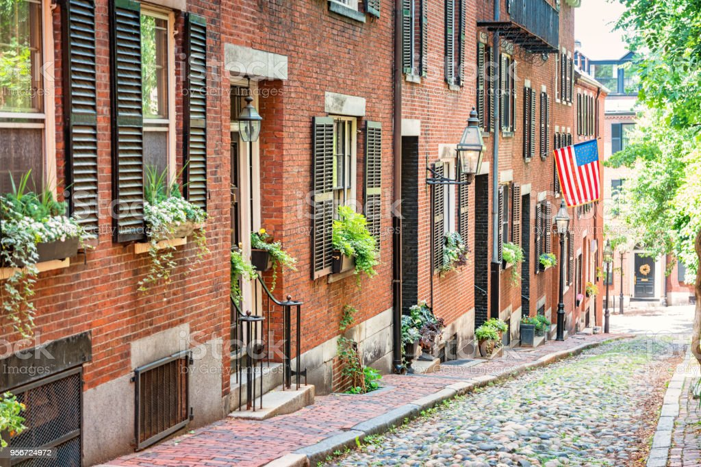 Brownstone townhomes in Beacon Hill Boston Massachusetts USA stock photo
