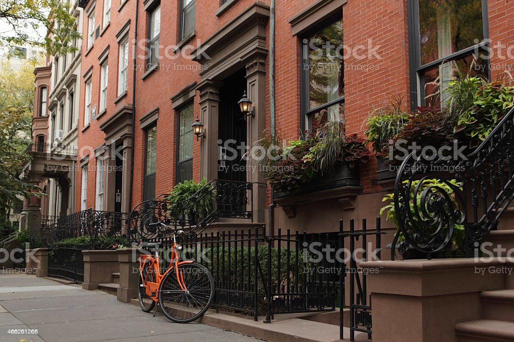 Brownstone townhouse residential street in Brooklyn New York stock photo
