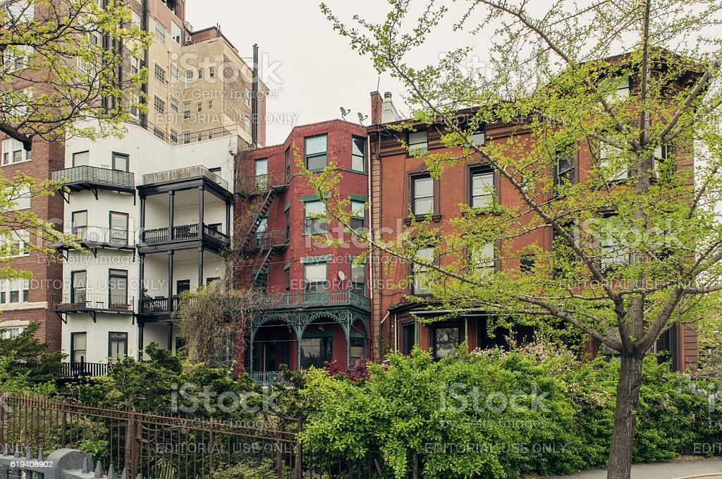 Brownstone townhouses on residential street in Brooklyn Heights, New York. stock photo