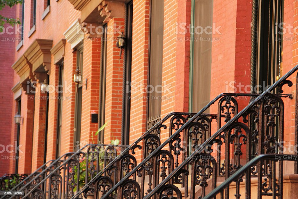 Brownstone West Village Apartments New York City Railings stock photo