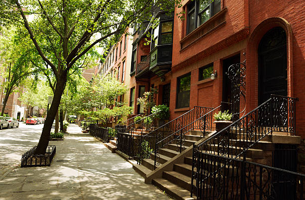 brownstone,brooklyn,nyc - terraced houses stock photos and pictures