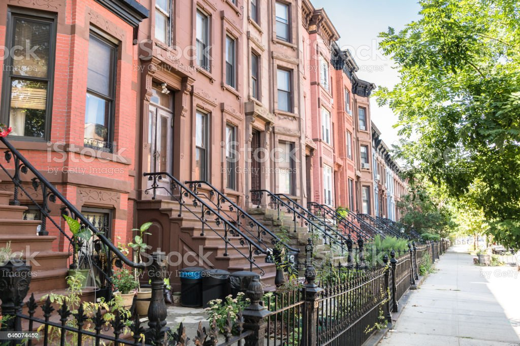 brownstones apartment in brooklyn stock photo