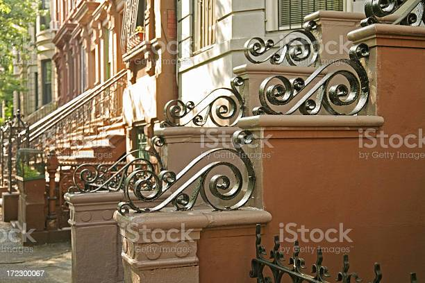Brownstones With Wrought Iron Details Stock Photo - Download Image Now
