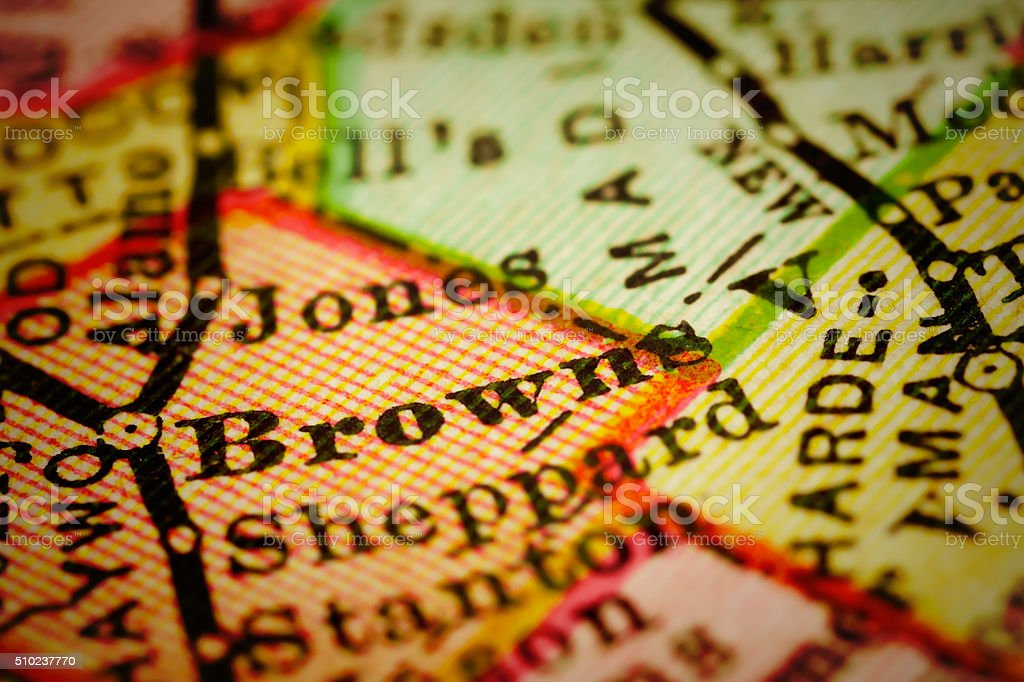 Brownsville, Tennessee on an Antique map stock photo