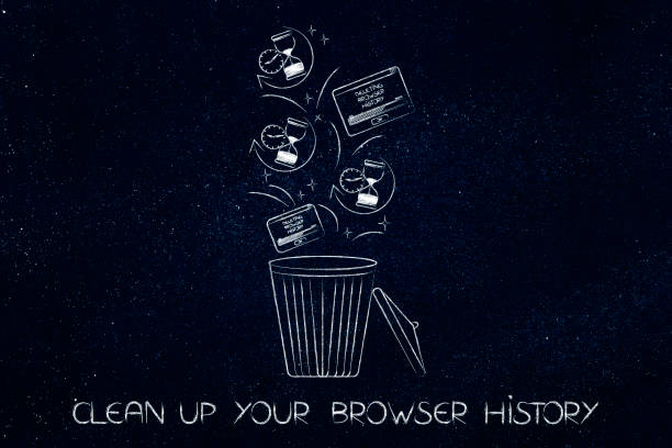 browser history data with hourglass icons and pop-ups in the bin stock photo