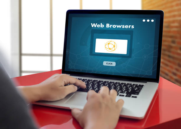 browser http man use computer Web Browsers Online Networking Connection Technology Digital stock photo