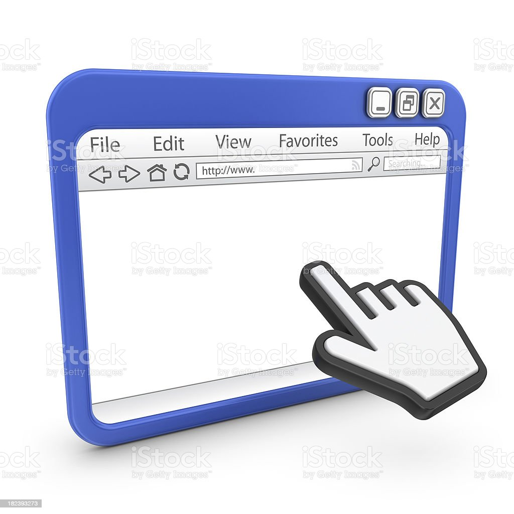 browser with hand cursor royalty-free stock photo