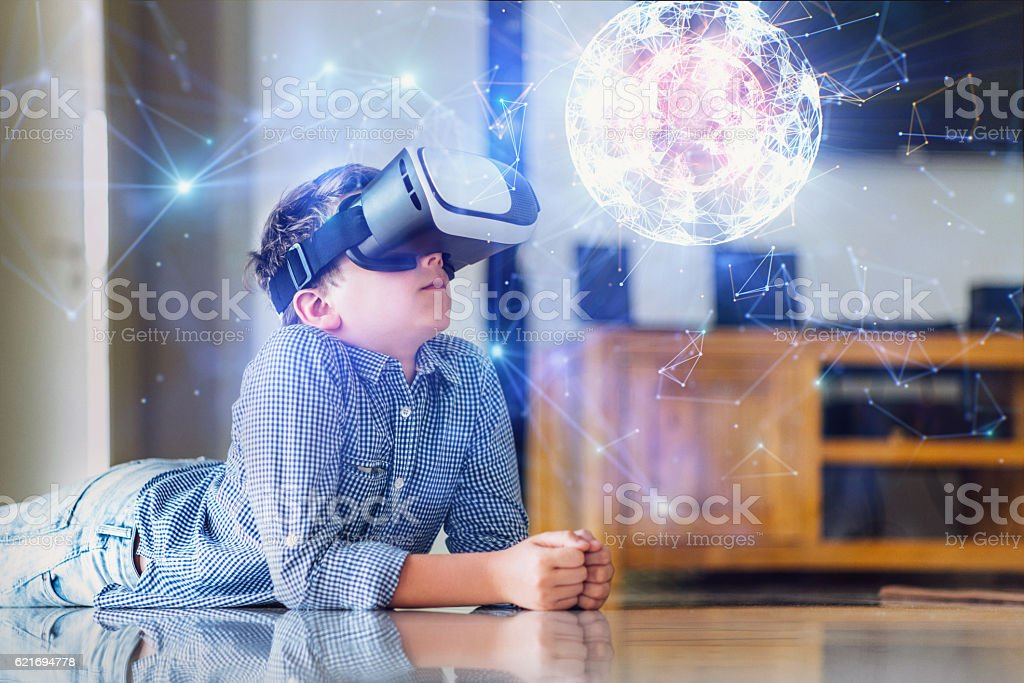 Browsing a Virtual World in Virtual Reality Glasses stock photo