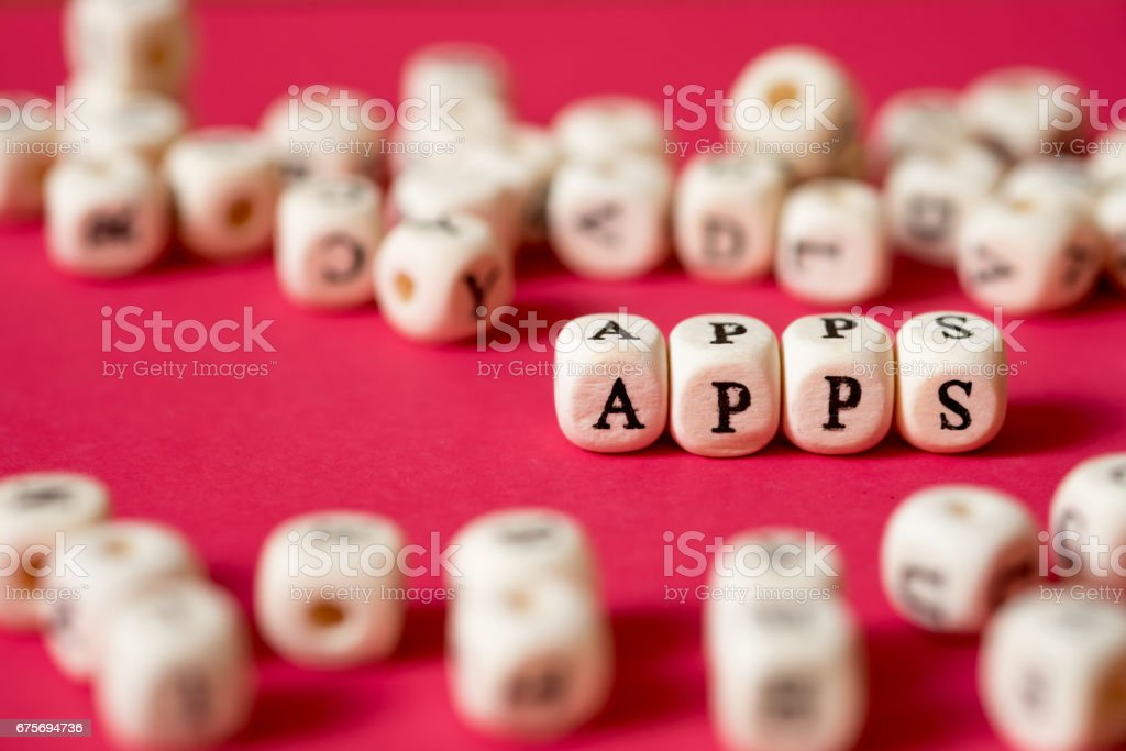 'APPS' browsing on internet and mobile social network concept on red wallpaper. royalty-free stock photo