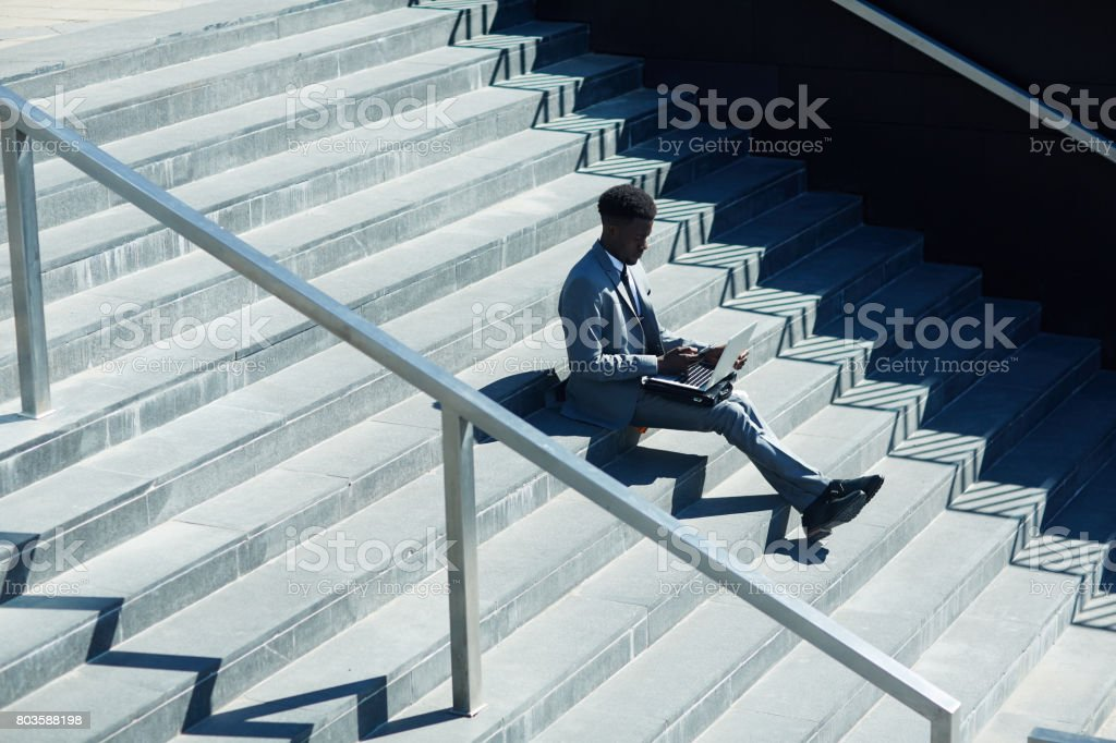 Browsing outdoors stock photo