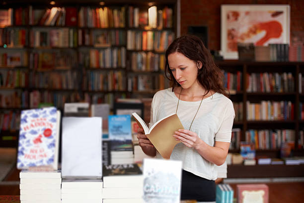 Browsing the bestsellers! stock photo