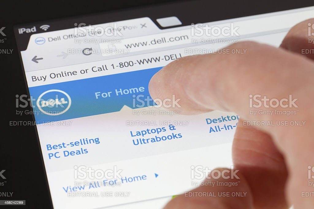 Browsing the Dell webpage on an ipad stock photo