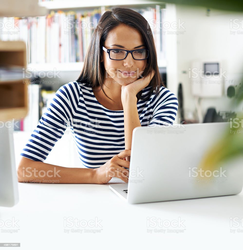 Browsing the news feed stock photo