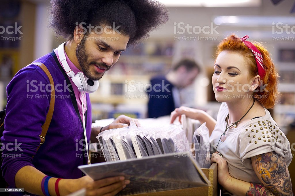 browsing the  record shop stock photo