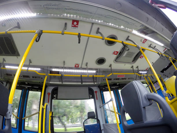 brt bus in rio de janeiro visual from inside a brt bus in rio de janeiro bus rapid transit stock pictures, royalty-free photos & images
