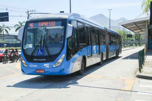 Brt (Bus Rapid Transit) on station at Barra da Tijuca Rio de Janeiro, february 15, 2020: BRT(Bus Rapid Transit) on station at Barra da Tijuca bus rapid transit stock pictures, royalty-free photos & images