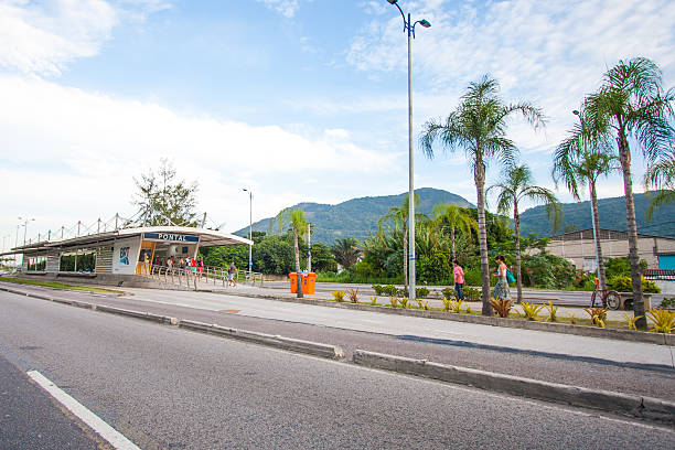 Brt Station in Rio Rio de Janeiro, Brazil - March 22, 2016: Brt Station in Recreio dos Bandeirantes, Rio de Janeiro, Brazil bus rapid transit stock pictures, royalty-free photos & images