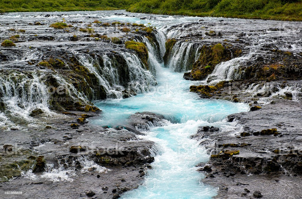 Bruarfoss waterfall with turquoise water, Iceland stock photo