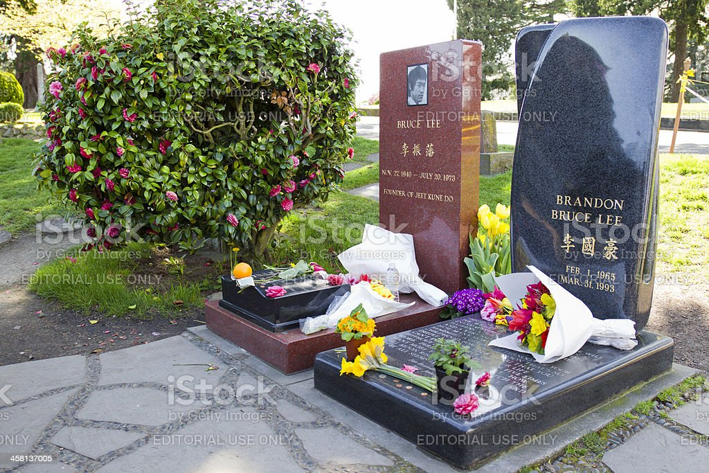 Bruce and Brandon Lee's Grave stock photo