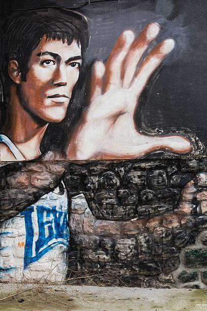 Bruce Lee appeared on graphite in Belgrade street. - foto de acervo