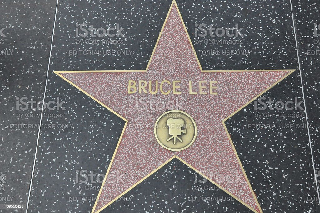 Bruce Lee's star on Hollywood Walk of Fame in California stock photo